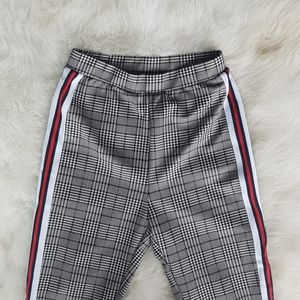 High waisted Striped plad trousers
